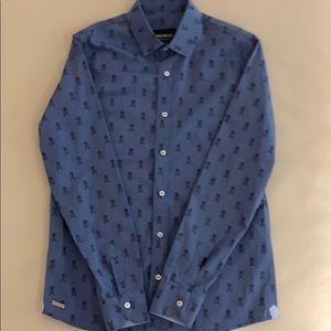 Fred Mello Boys Blue & Black Skull Shirt - Size XL